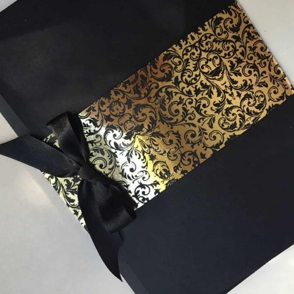 Convite Preto Luxo Dourado De A Conviteira