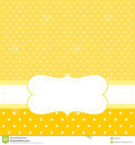 Vector o cartão ou o convite com fundo amarelo, às bolinhas