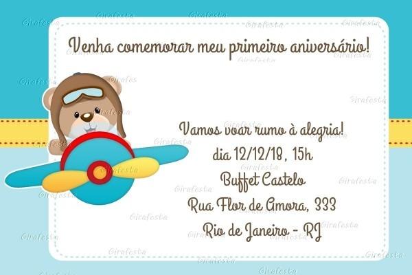 Video convite animado ursinho aviador