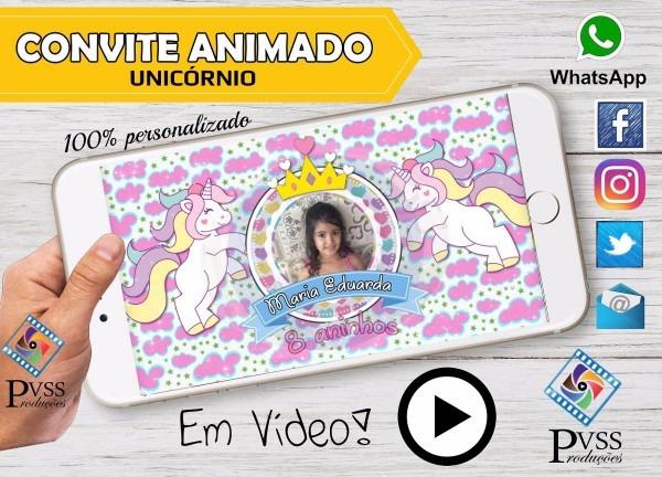 Vídeo convite virtual digital animado unicórnio