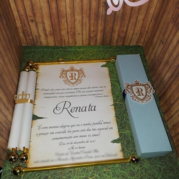 100 convite pergaminho 15x20 c  caixinha no elo7