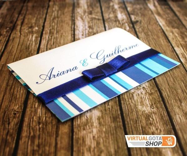 100 convites de casamento azul royal com listras com tag