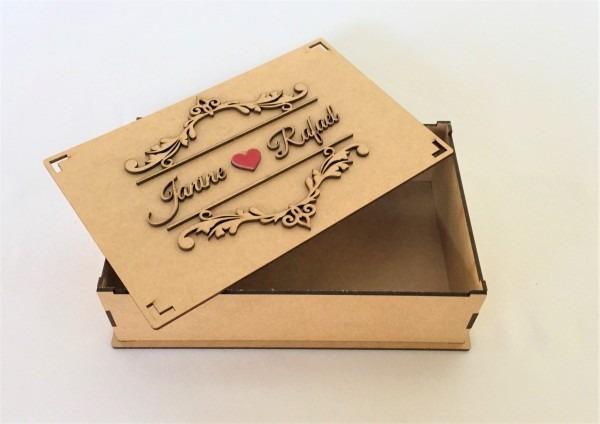 10 caixas mdf convite de casamento padrinhos arabesco 5cm