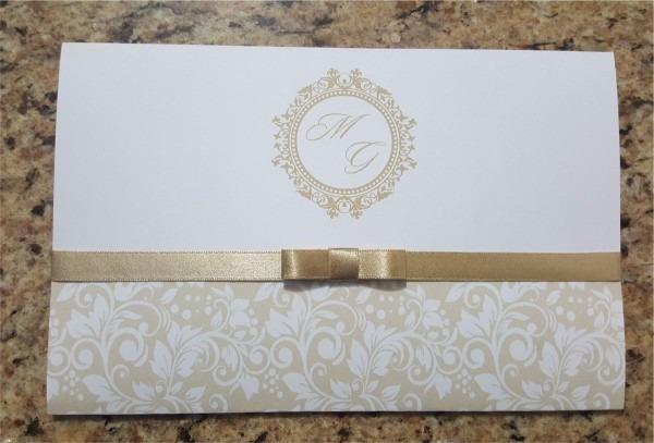 10 convites barato 14 x 21 cm  com fita cetim laço chanel