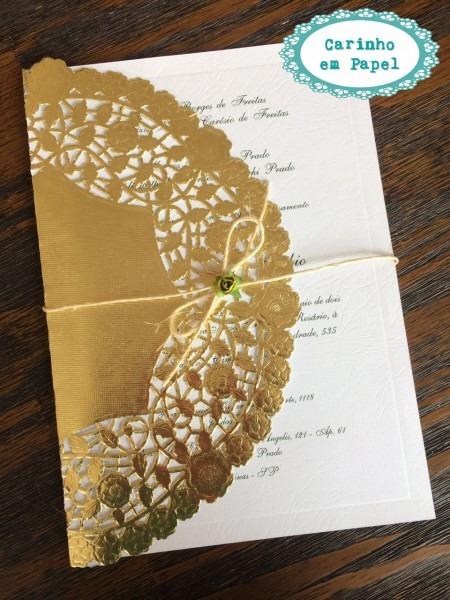 Doilies   papel rendado dourado 25 cm para convite no elo7