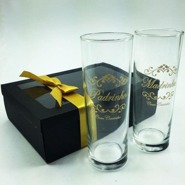 10 kits copos caixa convite padrinhos casamento lembrancinha