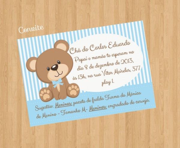 Convite baby chá ursinho azul e branco