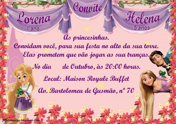 Jujuba e pepÊ  convite rapunzel enrolados