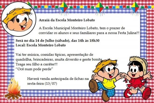 Convite festa junina da escola municipal monteiro lobato