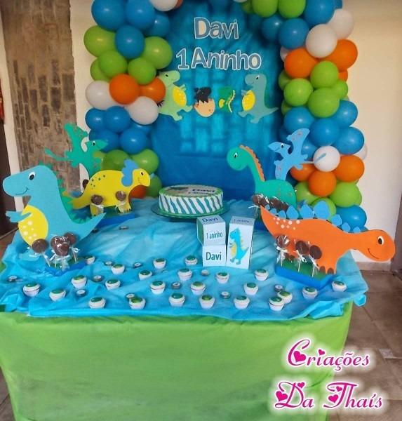 Criações da thaís  festa tema dinossauros com meus personagens em eva