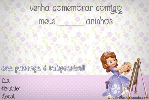 Oliveira fashionando  convites para imprimir princesa sofia