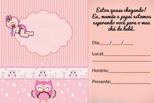 Convites chá de bebê para editar e imprimir