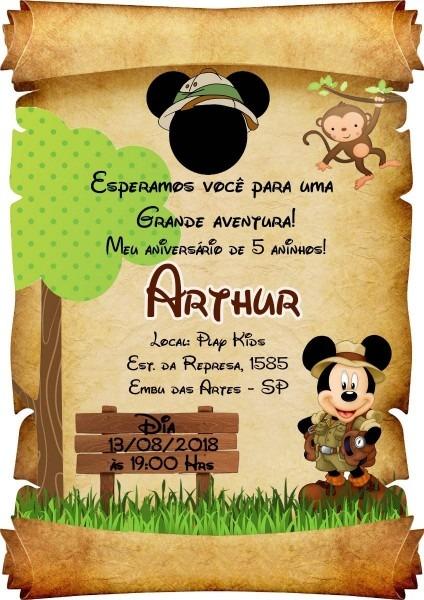 20 convite pergaminho mickey safari