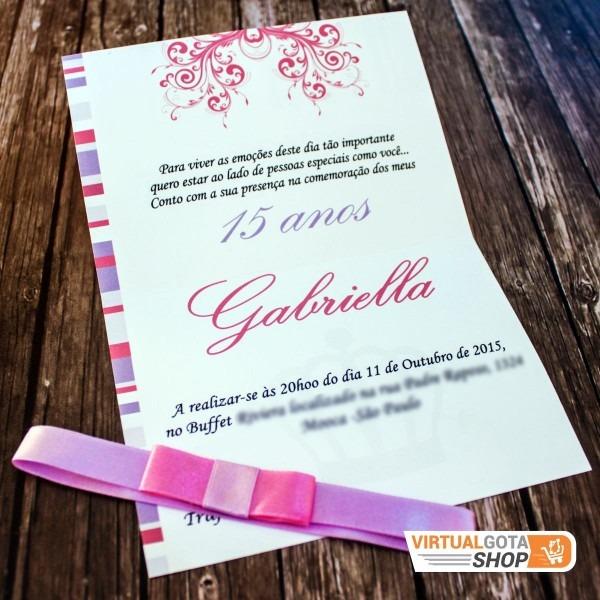 20 convites aniversário 15 anos princesa   coroa   gabriela