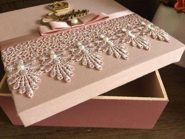 Caixa para convite madrinhas e padrinhos caixa em mdf com tecido e