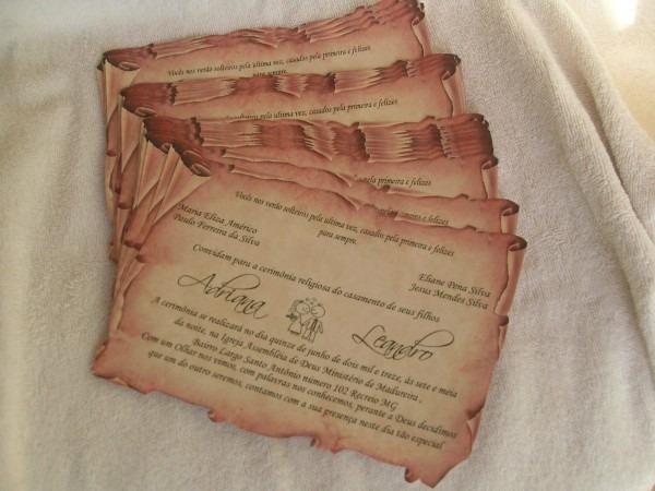 30 convites casamento, pergaminho