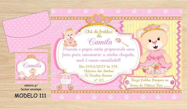 40 convites chá de bebe  fraldas ursinha princesa no elo7
