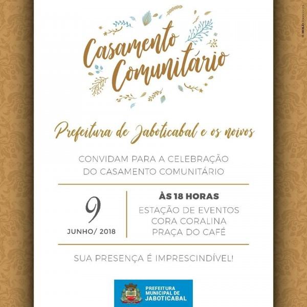 Casamento comunitário acontece sábado (09) em jaboticabal