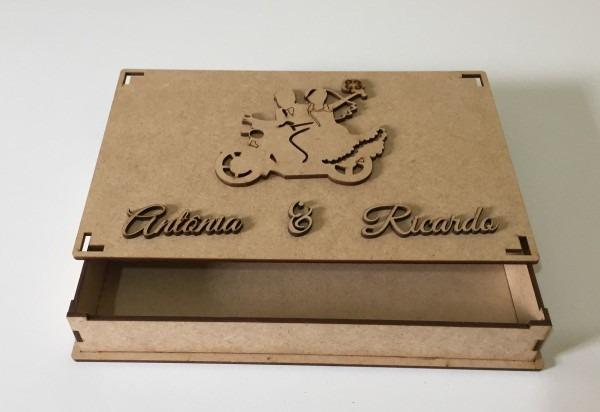 35 caixas mdf convite casamento padrinho noivinhos moto 10cm