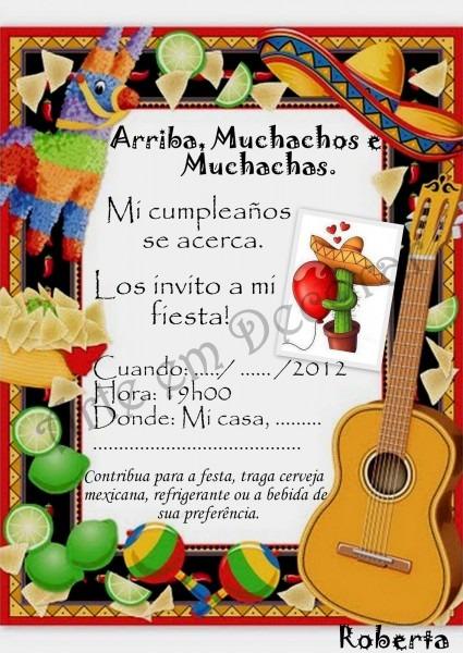 Convite para festa mexicana