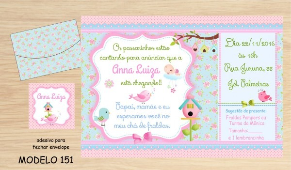 32 convites chá bebê   fraldas no elo7