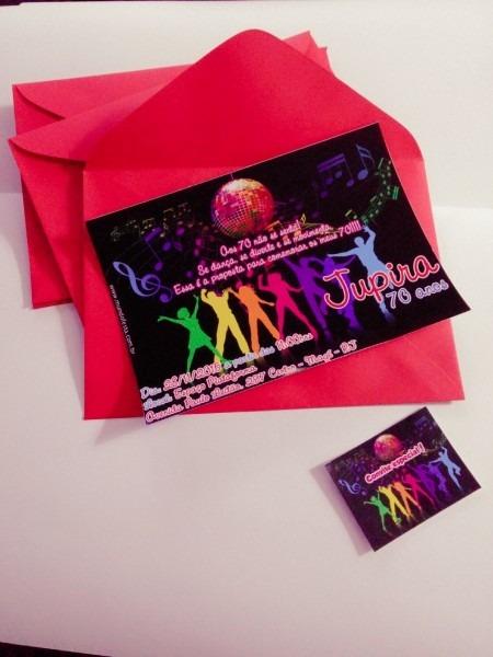 50 convite aniversário balada neon 10x15 envelope e adesivos