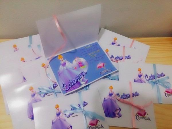 50 convite aniversário cinderela luxo com capa 10x15