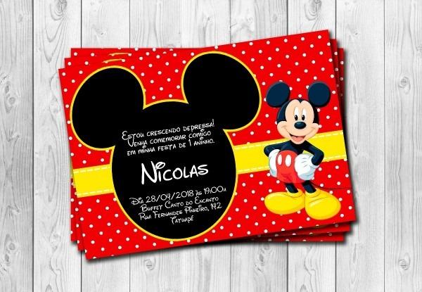 50 convites mickey personalizados 10x15cm