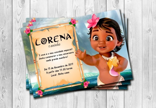 50 convites moana bebe personalizados 10x15cm