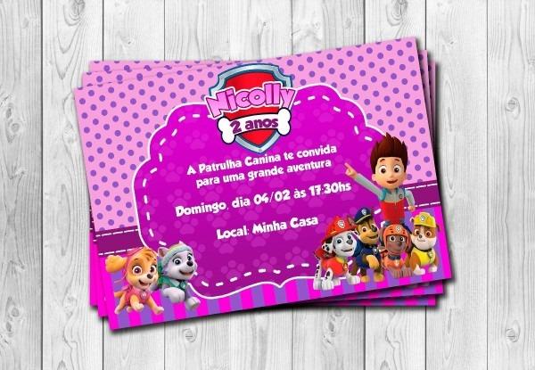 50 convites patrulha canina rosa menina personalizados 10x15