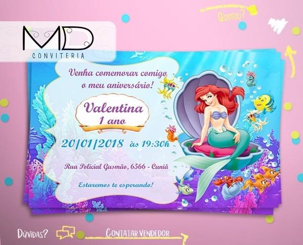 50 convites princesaa ariel sereia