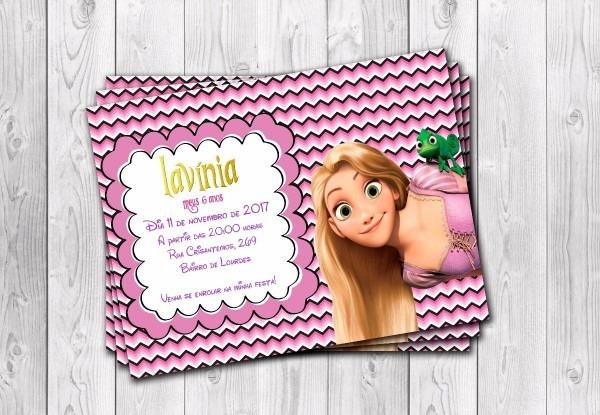 50 convites rapunzel enrolados personalizados 10x15cm