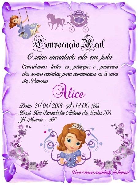 55 convite pergaminho lilás princesa sofia