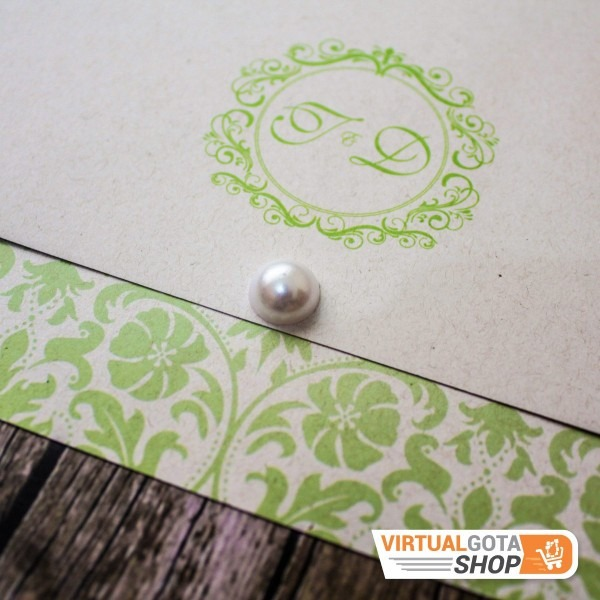 5 convites de casamento verde e branco simples e tradicional