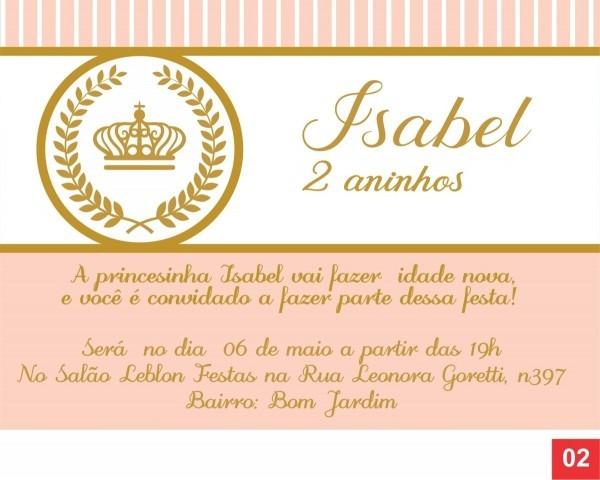 60 convites coroa princesa personalizados + frete grátis