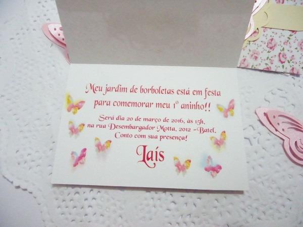 Convite scrap jardim borboleta feito de papel artesanal scrapbook