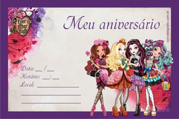 Convite ever after high …