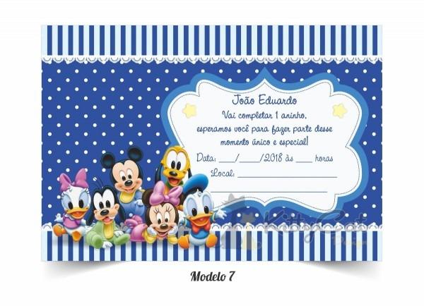 80 convites simples disney baby mickey minnie