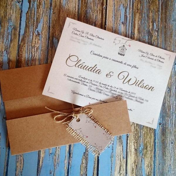 95 convites de casamento rústico reciclado envelope em kraft