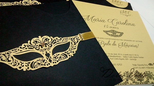 Dolce vitta convites  convite baile de mascaras 15 anos cod  293