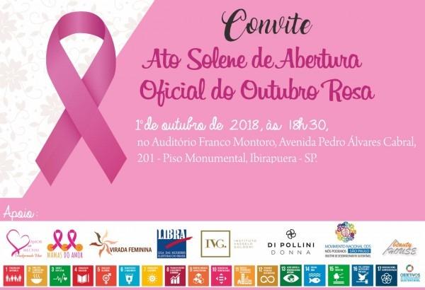 Convite  ato solene de abertura oficial do outubro rosa