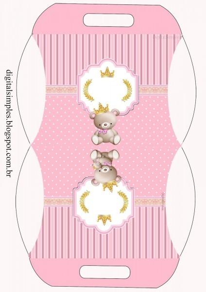 Artes digitais gratuitas para imprimir  ursinha princesa rosa
