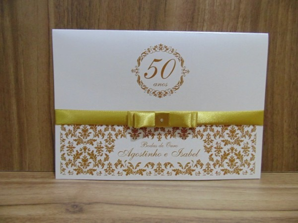 Convite bodas de ouro no elo7
