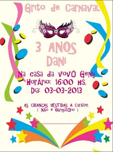 Convites aniversario carnaval