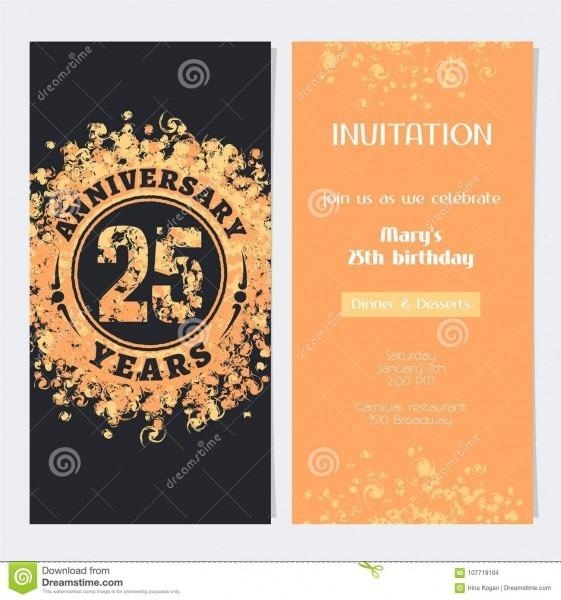 25 anos de convite do aniversário à ilustração do vetor do evento