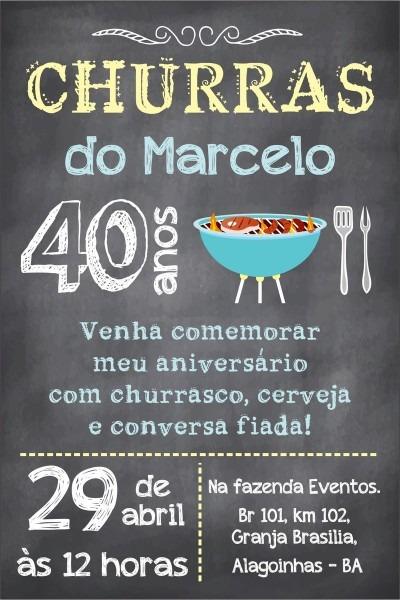 Arte convite digital aniversario churrasc