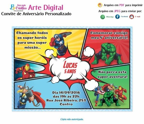 Arte convite digital aniversário vingadores