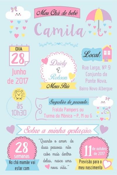 Arte convite digital cha de bebe no elo7