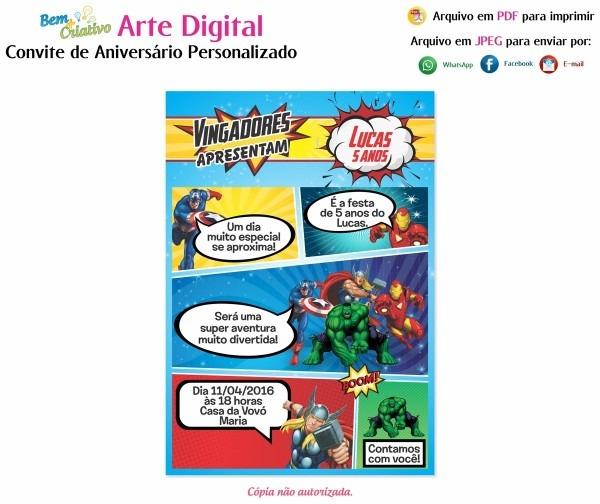 Arte digital convite aniversário vingadores