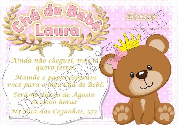 Arte digital convite chá de bebe fraldas urso coroado menino
